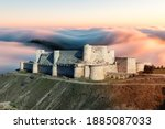 Small photo of Krak des Chevaliers, Knights castle, Crosses, Syria, Middle East, Asia, Pre-war 2011, A Crusader fortress in Syria and one of the world's most important medieval castles preserved to this day.