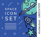 space icon set moon rocket and...   Shutterstock .eps vector #1885247059