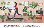 stay at home concept  young...   Shutterstock .eps vector #1885250173