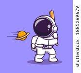 cute astronaut hit planet ball... | Shutterstock .eps vector #1885269679