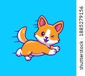cute corgi dog running and...   Shutterstock .eps vector #1885279156