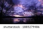 Violet Sunrise At Fishing Pier