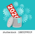 covid 19 destroys 2020 concept  ... | Shutterstock .eps vector #1885299019