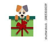 a puppy as a gift. vector icon... | Shutterstock .eps vector #1885303039