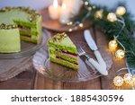 Pistachio Layer Cake Decorated...