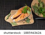 A Piece Of Red Salmon Fish Lies ...