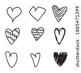 set of nine hand drawn heart.... | Shutterstock .eps vector #1885471399