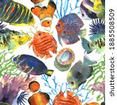 colorful exotic tropical fishes ... | Shutterstock . vector #1885508509