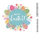 easter greeting card with cute... | Shutterstock .eps vector #1885538593