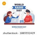 world radio day concept vector...