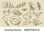vector hand drawn meat and... | Shutterstock .eps vector #188558414