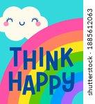 """think happy"" typography design ...   Shutterstock .eps vector #1885612063"