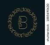 elegant letter b. thin line.... | Shutterstock .eps vector #1885690630