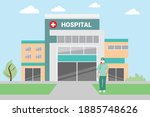the hospital building is... | Shutterstock .eps vector #1885748626