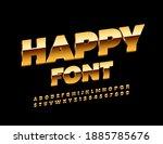 vector happy font. gold elite... | Shutterstock .eps vector #1885785676
