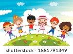 happy multi ethnic kids playing ...   Shutterstock .eps vector #1885791349