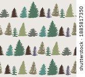 fir tree silhouette hand drawn...   Shutterstock . vector #1885817350