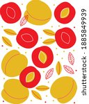 peach  sliced  greens abstract... | Shutterstock .eps vector #1885849939