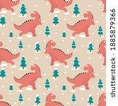 dinosaur pine tree snow winter...   Shutterstock .eps vector #1885879366