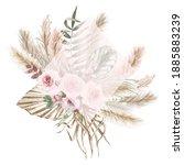watercolor boho exotic rhombic...   Shutterstock . vector #1885883239