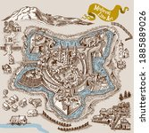 medieval map elements engraving ... | Shutterstock .eps vector #1885889026