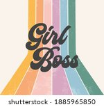 girl boss retro striped rainbow ... | Shutterstock .eps vector #1885965850