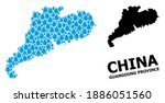 Vector mosaic and solid map of Guangdong Province. Map of Guangdong Province vector mosaic for pure water ads. Map of Guangdong Province is designed with blue pure liquid raindrops.