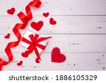 Red Hearts  Ribbon And Gift On...