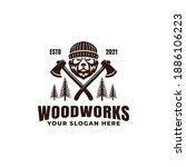 lumberjack bear logo with axes...   Shutterstock .eps vector #1886106223