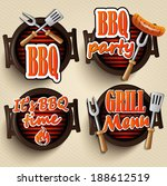 bbq grill elements ... | Shutterstock .eps vector #188612519
