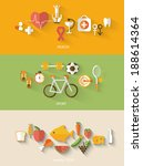 healthy lifestyle concept in... | Shutterstock .eps vector #188614364