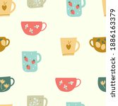 Seamless Pattern With Cups In...
