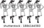 row of human skeleton line... | Shutterstock .eps vector #1886166583