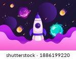 spaceship and solar system.... | Shutterstock .eps vector #1886199220