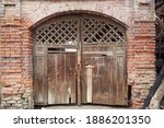 Antique Wooden Gate With Cross...