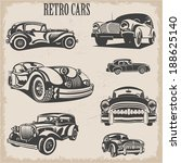 sets of silhouette retro cars | Shutterstock .eps vector #188625140