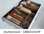 Open Drawer With Utensil Set...