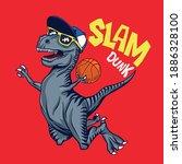 basketball player dinosaur... | Shutterstock .eps vector #1886328100