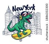 skater dinosaur.new york... | Shutterstock .eps vector #1886332300