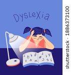 dyslexia concept.  young girl...   Shutterstock .eps vector #1886373100
