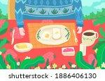 guy in sweaters enjoy small... | Shutterstock . vector #1886406130