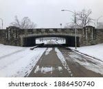 Vintage Bridge In Snow Covered...
