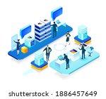 isometric 3d business...   Shutterstock .eps vector #1886457649