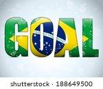 Vector - Brazil Goal Soccer 2014 Letters with Brazilian Flag