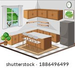 dining room interior with... | Shutterstock .eps vector #1886496499