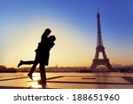 silhouette of young couple in... | Shutterstock . vector #188651960