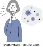 an old woman who coughs due to... | Shutterstock .eps vector #1886519806