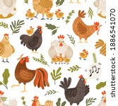 seamless pattern with cute... | Shutterstock .eps vector #1886541070