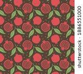 cute pomegranate seamless...   Shutterstock .eps vector #1886551000