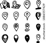 hand drawn map pointers  doodle ... | Shutterstock .eps vector #1886557429